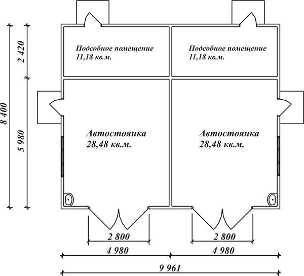 План фундамента гаража
